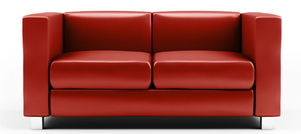 Red Leather Couch on White background