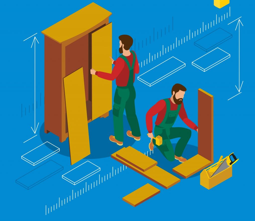 Illustration of man assembling a closet