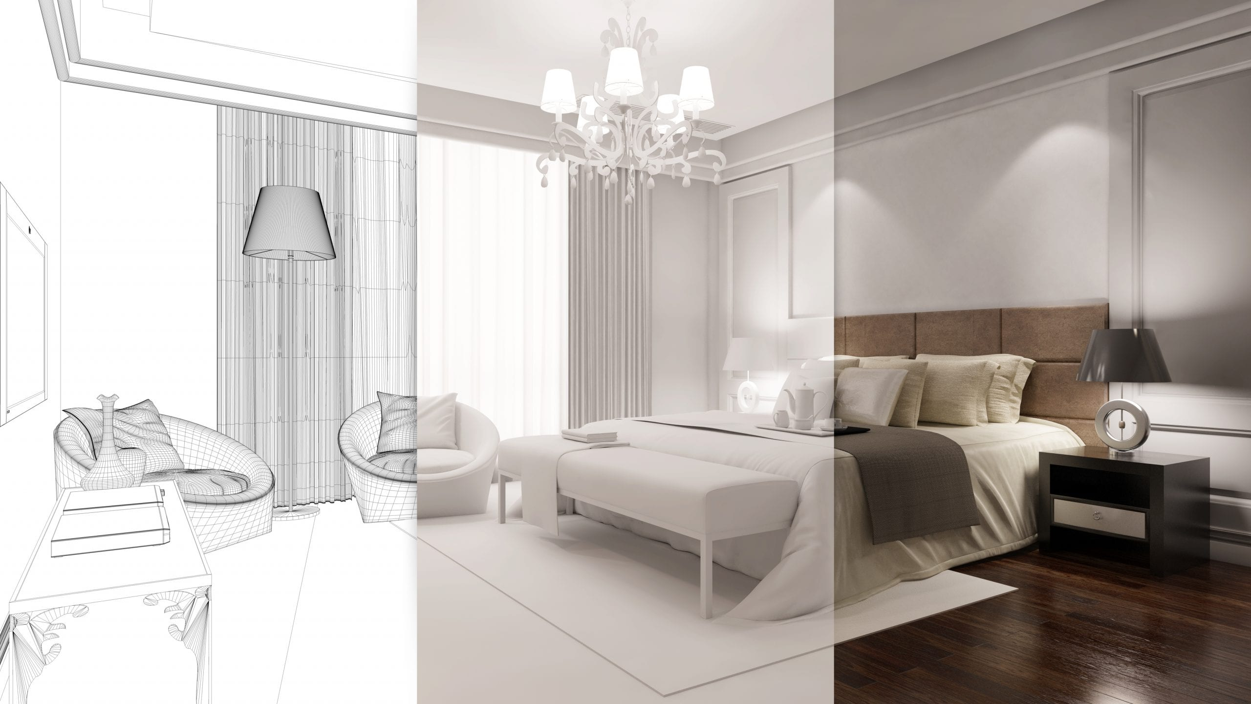 CAD and Design rendering of a hotel room.